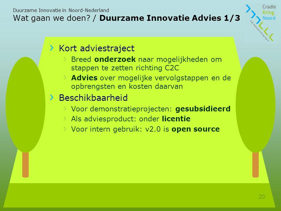 Wat gaan we doen / Duurzame Innovatie Advies 1/3