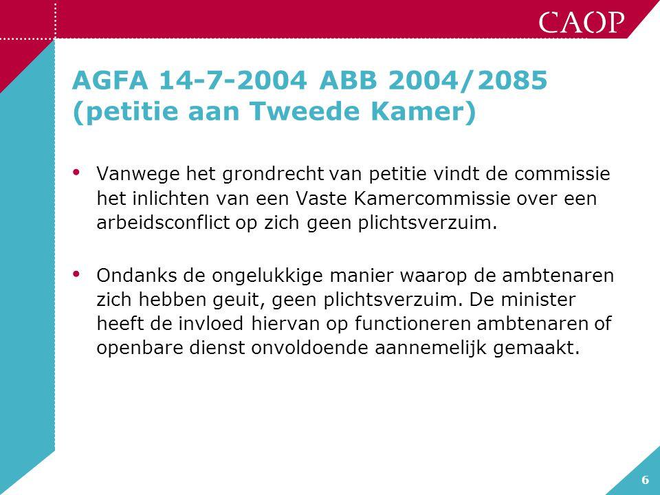 AGFA 14-7-2004 ABB 2004/2085 (petitie aan Tweede Kamer)