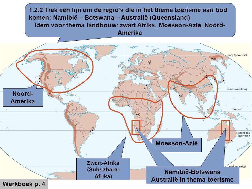 Idem voor thema landbouw: zwart Afrika, Moesson-Azië, Noord-Amerika