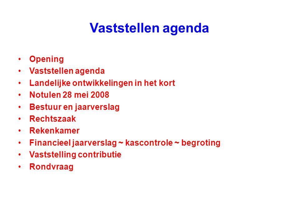 Vaststellen agenda Opening Vaststellen agenda