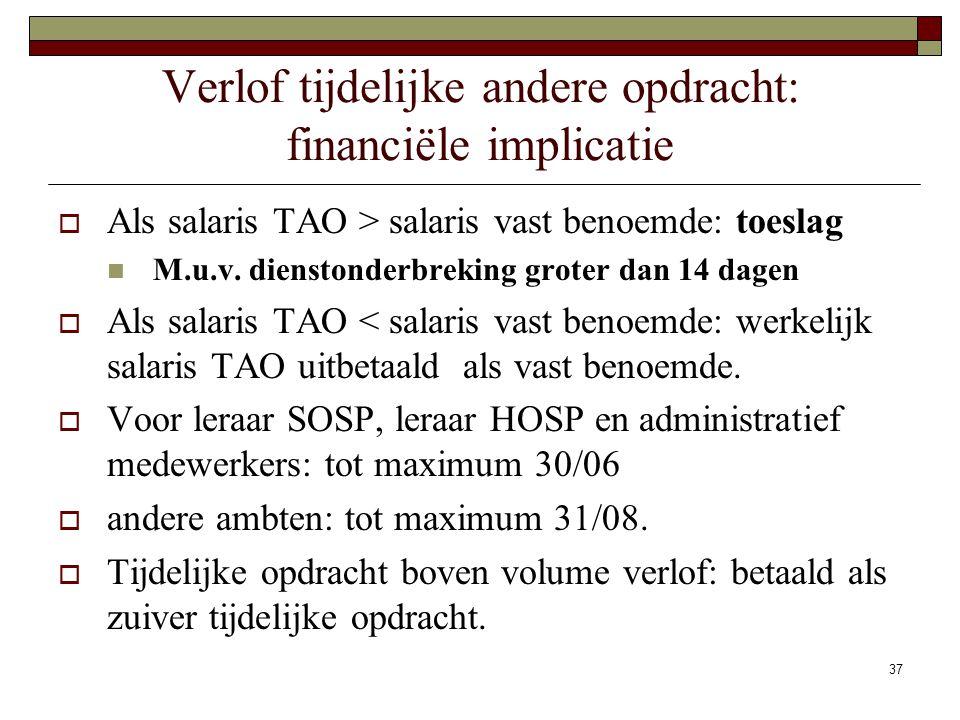 Verlof tijdelijke andere opdracht: financiële implicatie