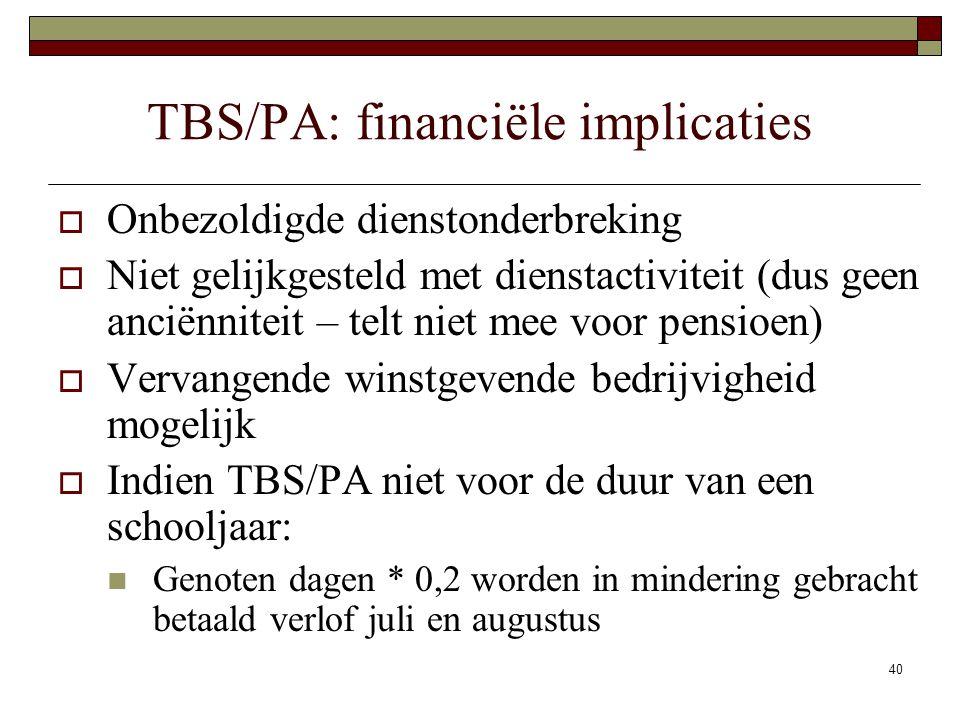 TBS/PA: financiële implicaties