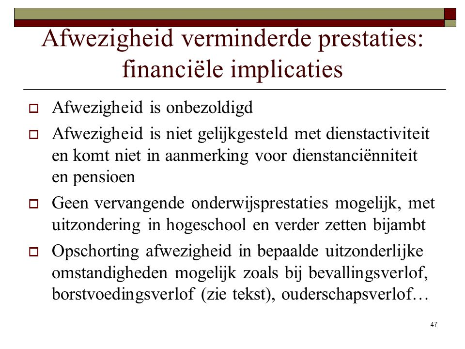 Afwezigheid verminderde prestaties: financiële implicaties