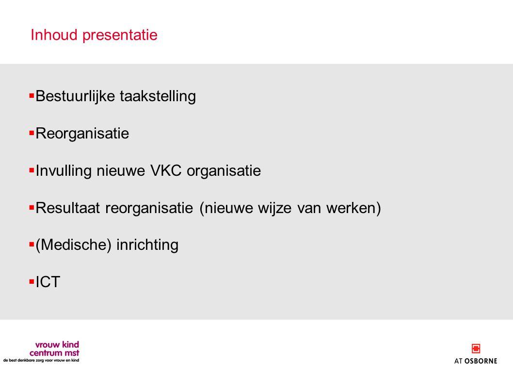 Inhoud presentatie Bestuurlijke taakstelling. Reorganisatie. Invulling nieuwe VKC organisatie. Resultaat reorganisatie (nieuwe wijze van werken)