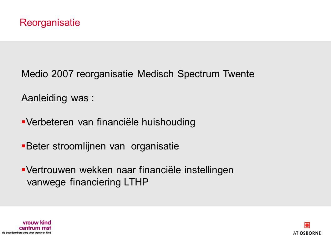 Reorganisatie Medio 2007 reorganisatie Medisch Spectrum Twente. Aanleiding was : Verbeteren van financiële huishouding.