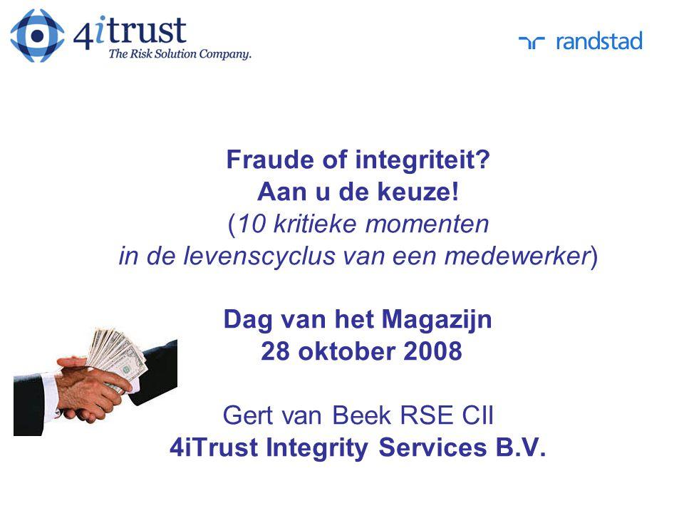 Fraude of integriteit. Aan u de keuze