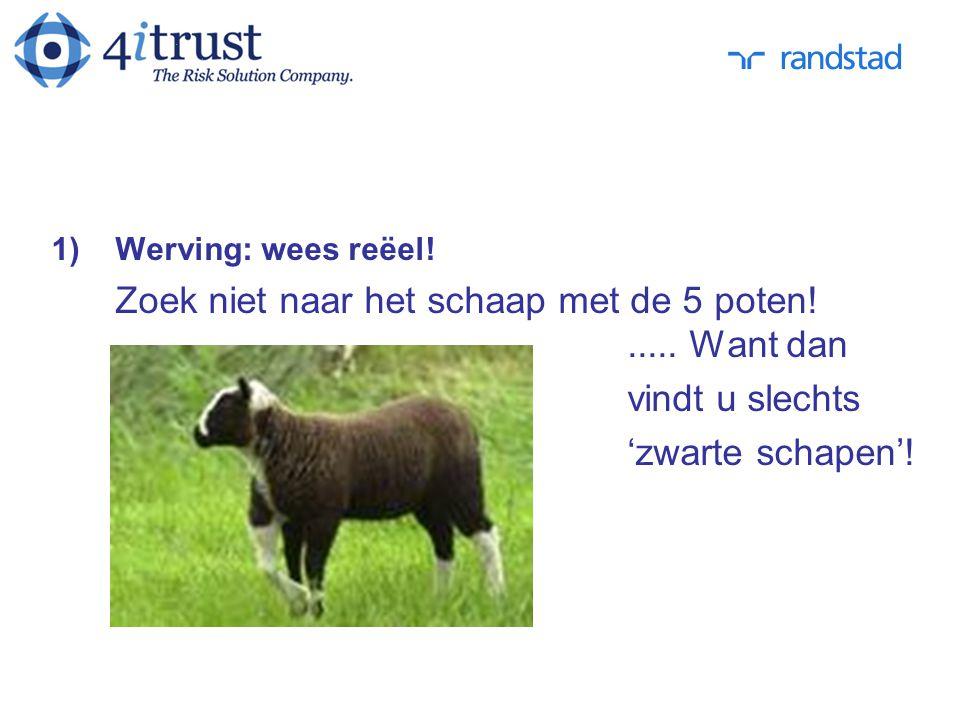 vindt u slechts 'zwarte schapen'! Werving: wees reëel!
