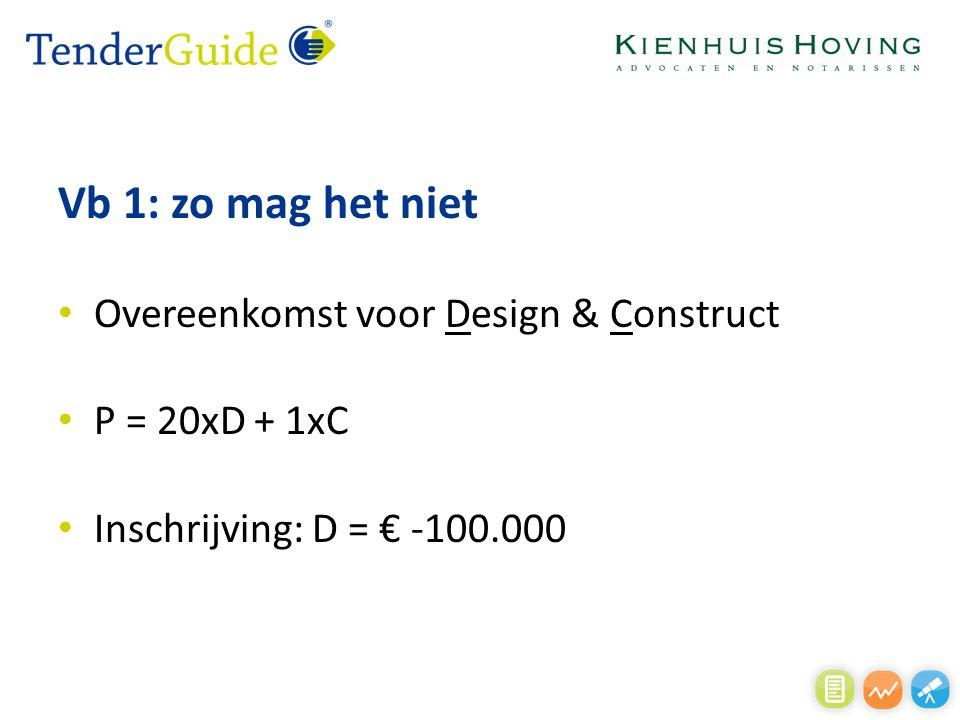 Vb 1: zo mag het niet Overeenkomst voor Design & Construct