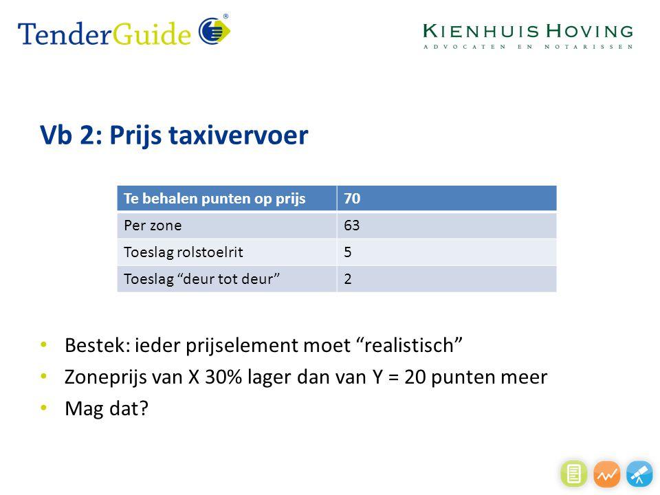 Vb 2: Prijs taxivervoer Bestek: ieder prijselement moet realistisch