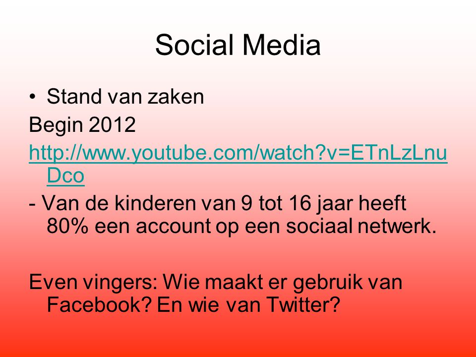Social Media Stand van zaken Begin 2012