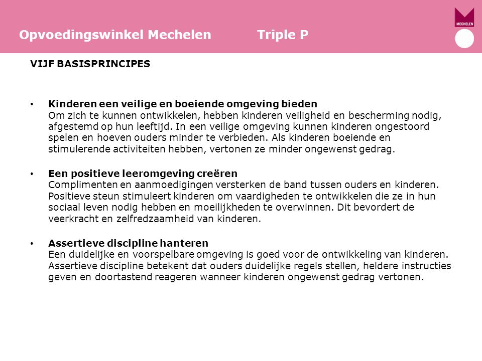 Opvoedingswinkel Mechelen Triple P