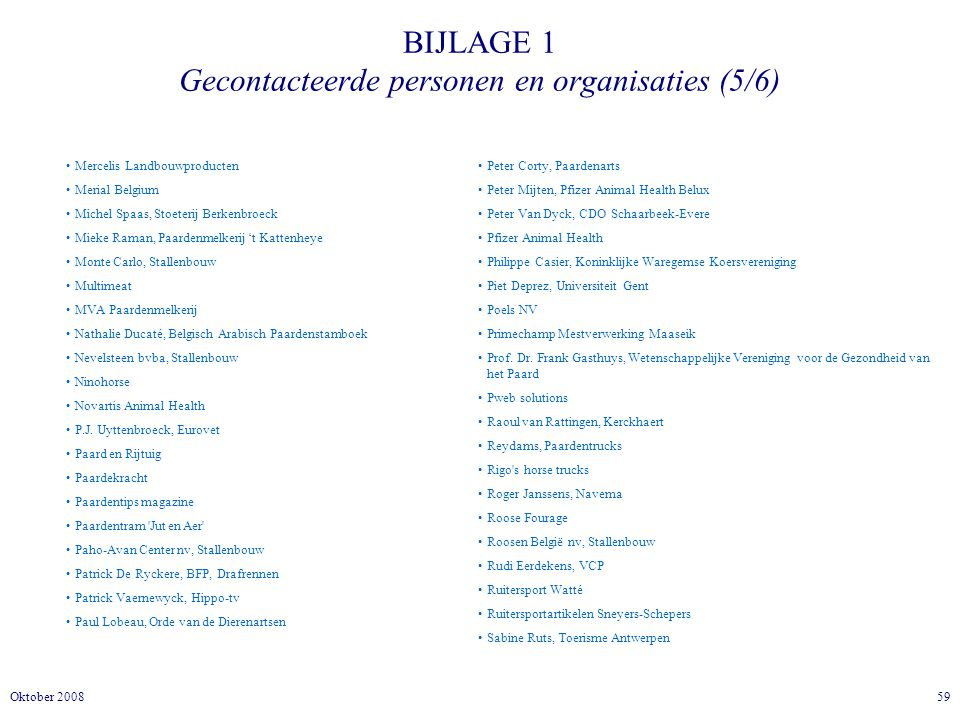 BIJLAGE 1 Gecontacteerde personen en organisaties (5/6)