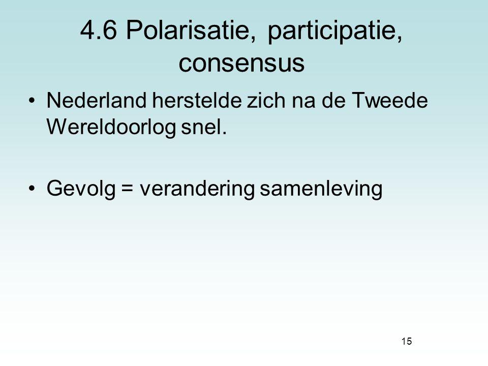 4.6 Polarisatie, participatie, consensus