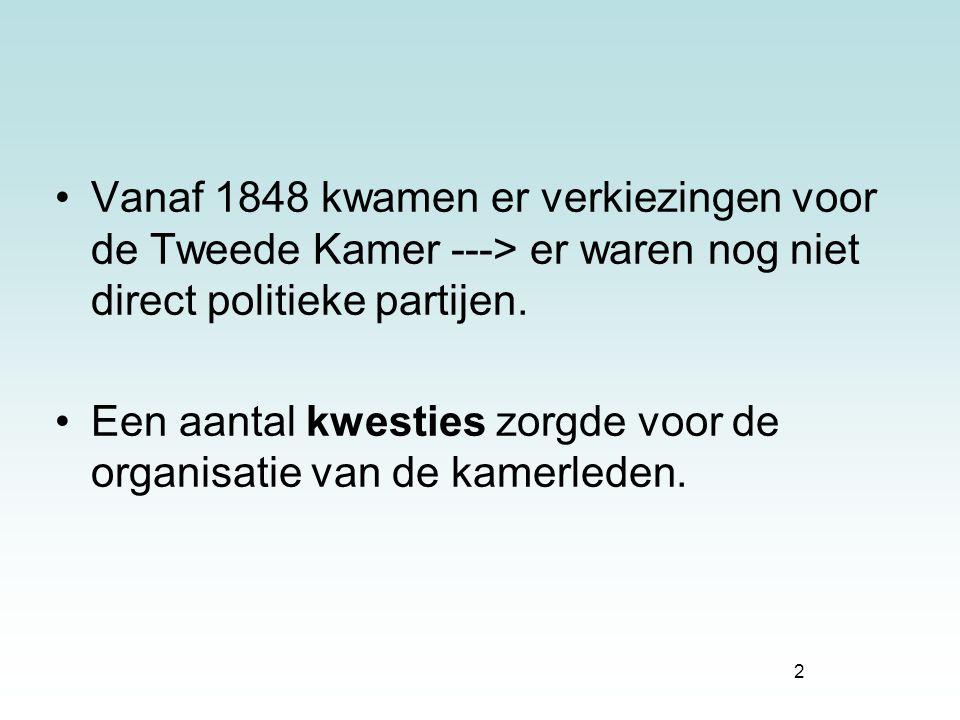 Vanaf 1848 kwamen er verkiezingen voor de Tweede Kamer ---> er waren nog niet direct politieke partijen.