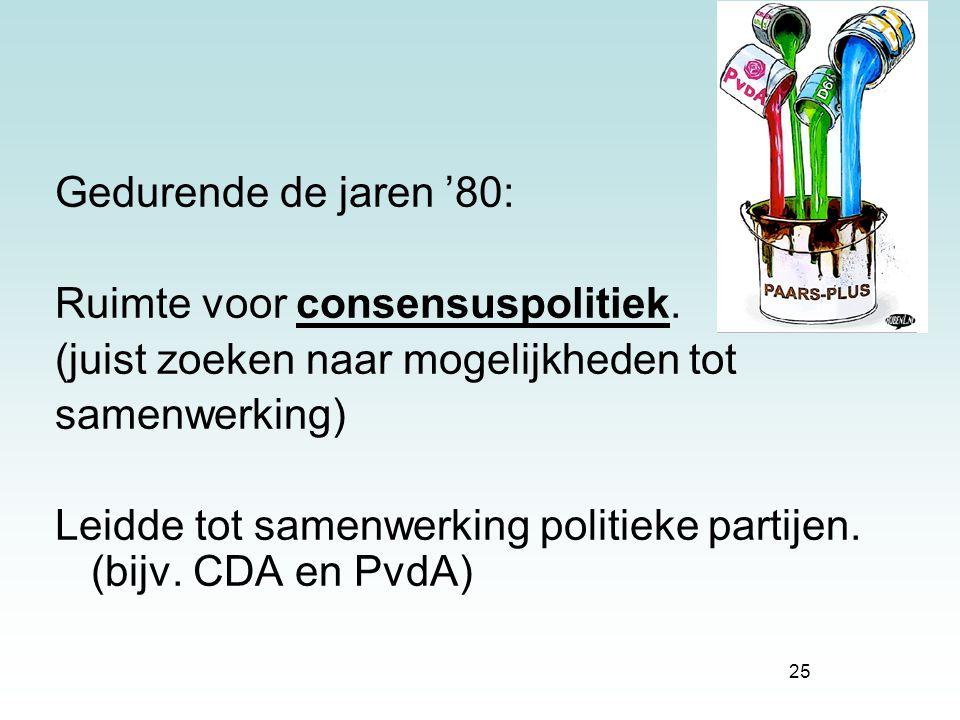 Gedurende de jaren '80: Ruimte voor consensuspolitiek. (juist zoeken naar mogelijkheden tot. samenwerking)