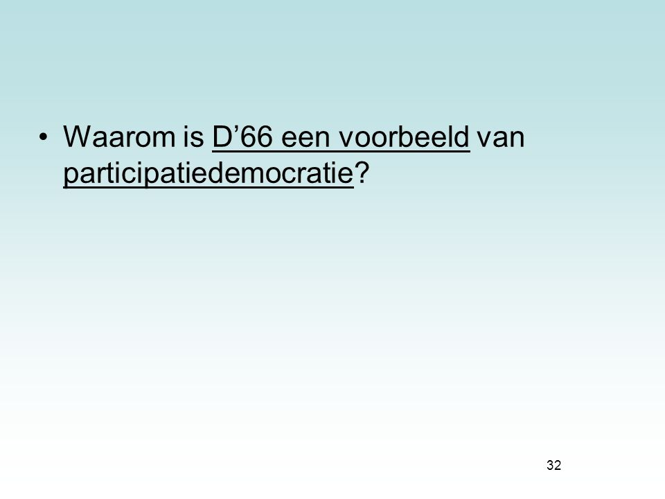 Waarom is D'66 een voorbeeld van participatiedemocratie