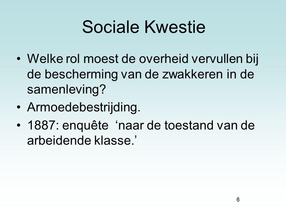 Sociale Kwestie Welke rol moest de overheid vervullen bij de bescherming van de zwakkeren in de samenleving