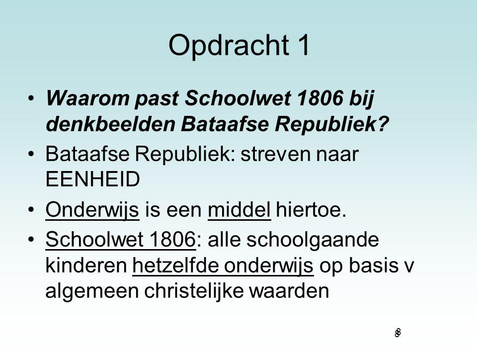 Opdracht 1 Waarom past Schoolwet 1806 bij denkbeelden Bataafse Republiek Bataafse Republiek: streven naar EENHEID.