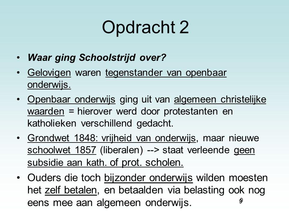 Opdracht 2 Waar ging Schoolstrijd over Gelovigen waren tegenstander van openbaar onderwijs.