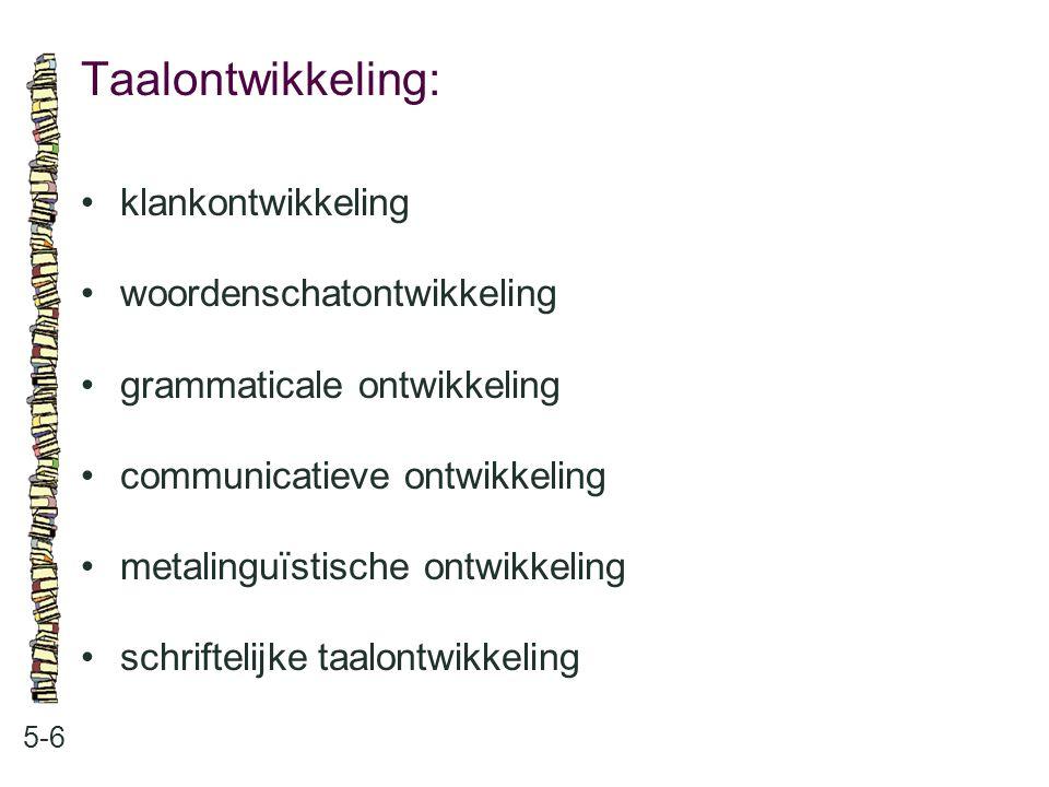Taalontwikkeling: klankontwikkeling woordenschatontwikkeling