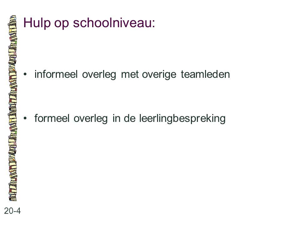 Hulp op schoolniveau: informeel overleg met overige teamleden