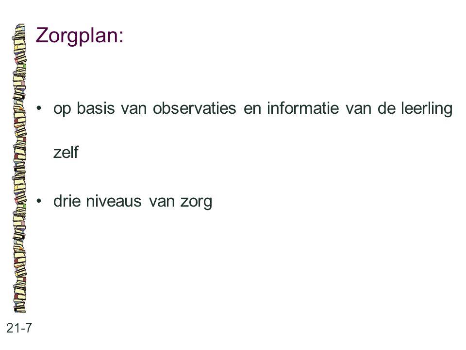 Zorgplan: op basis van observaties en informatie van de leerling zelf
