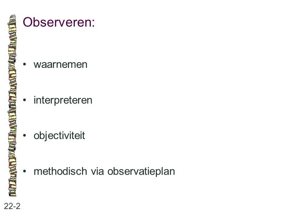 Observeren: waarnemen interpreteren objectiviteit