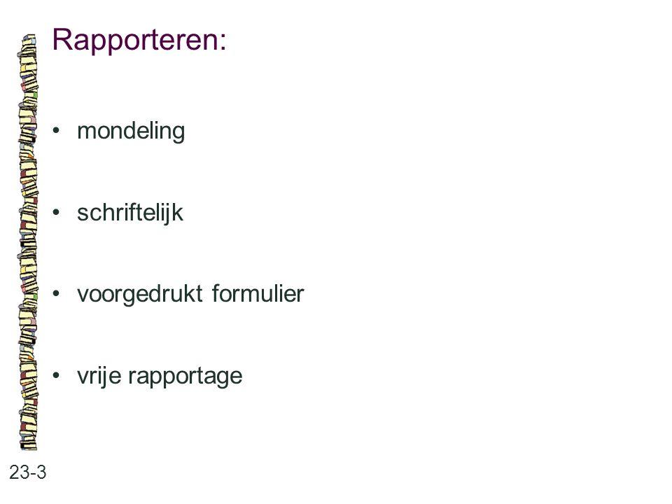 Rapporteren: mondeling schriftelijk voorgedrukt formulier