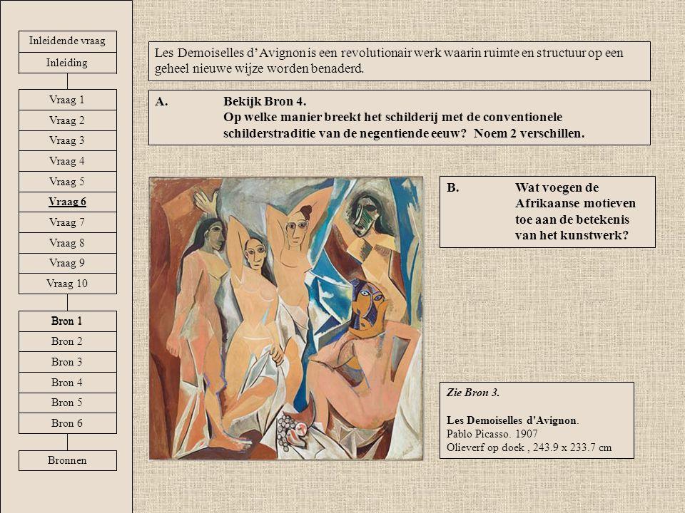 Inleidende vraag Les Demoiselles d'Avignon is een revolutionair werk waarin ruimte en structuur op een geheel nieuwe wijze worden benaderd.