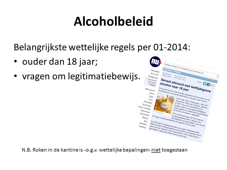 Alcoholbeleid Belangrijkste wettelijke regels per 01-2014: