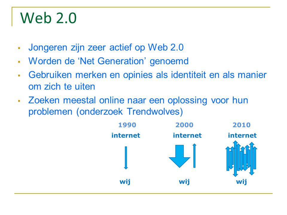 Web 2.0 Jongeren zijn zeer actief op Web 2.0