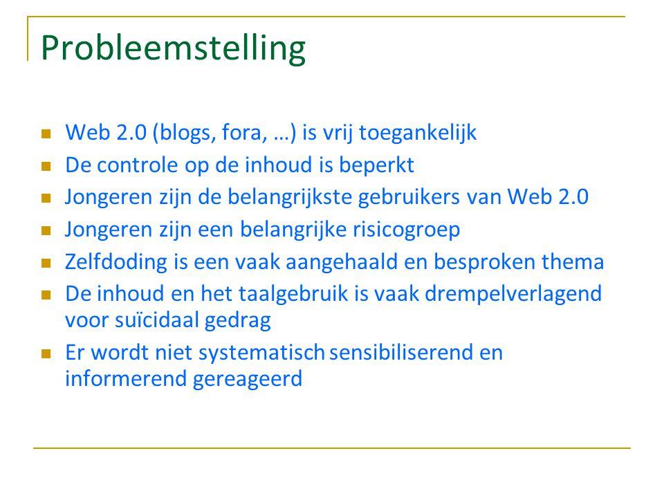 Probleemstelling Web 2.0 (blogs, fora, …) is vrij toegankelijk