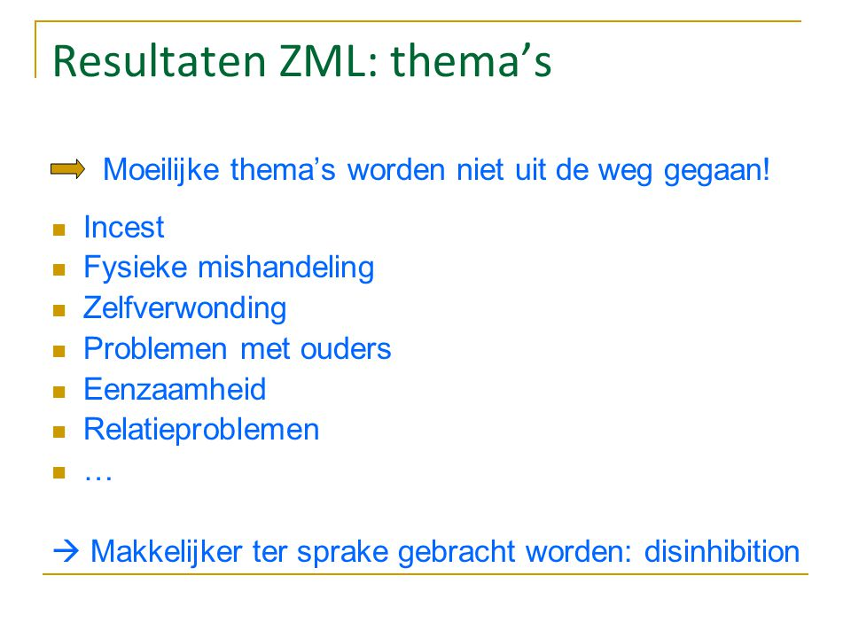 Resultaten ZML: thema's