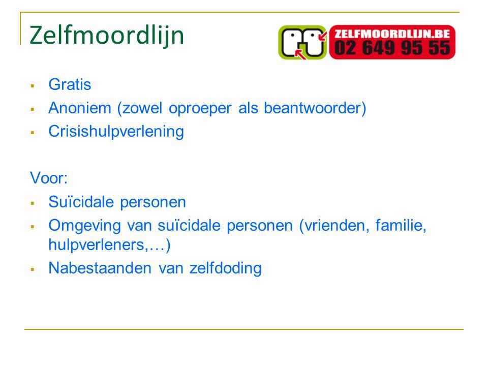 Zelfmoordlijn Gratis Anoniem (zowel oproeper als beantwoorder)