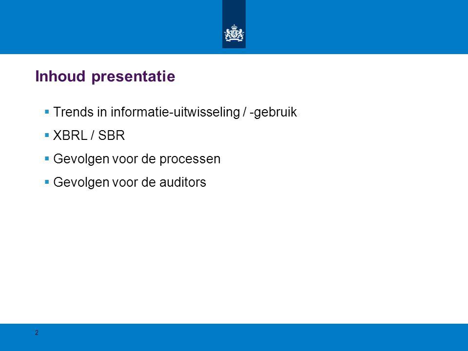 Inhoud presentatie Trends in informatie-uitwisseling / -gebruik