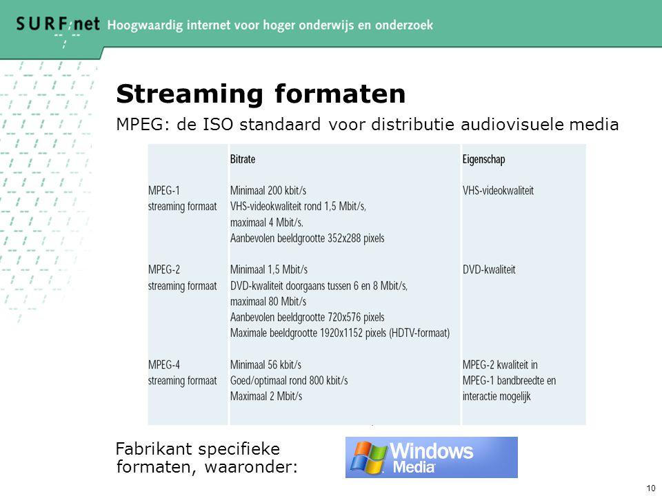 Streaming formaten MPEG: de ISO standaard voor distributie audiovisuele media.