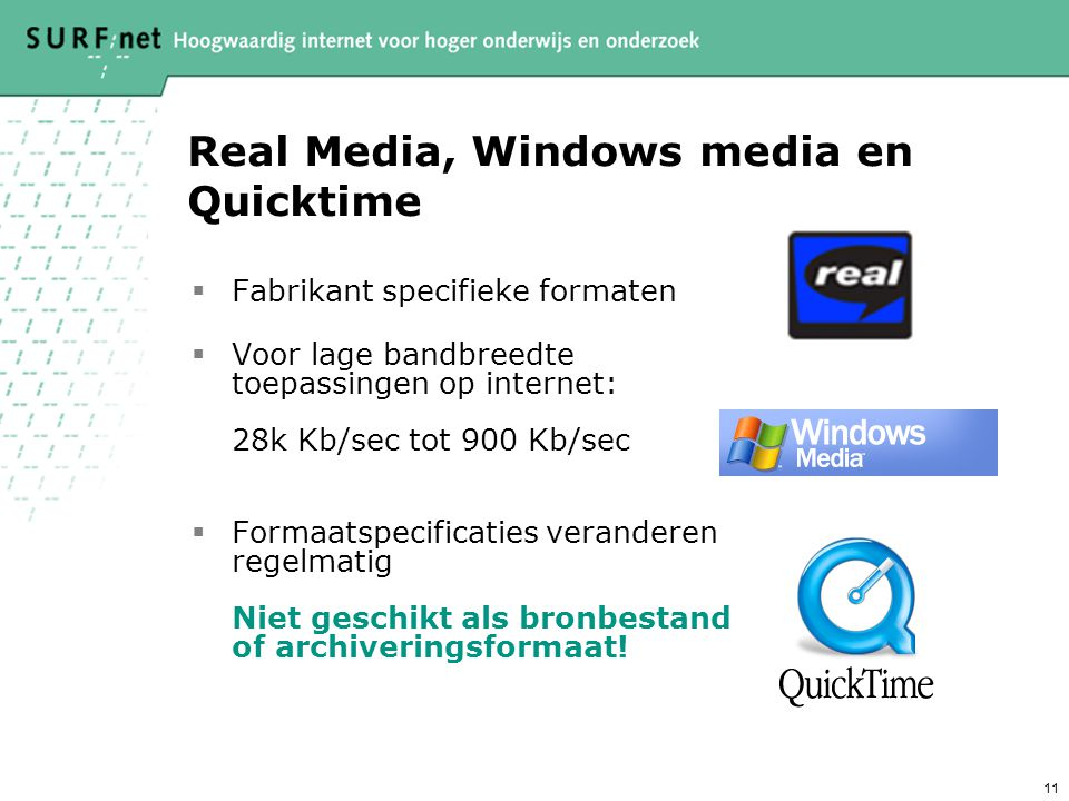 Real Media, Windows media en Quicktime
