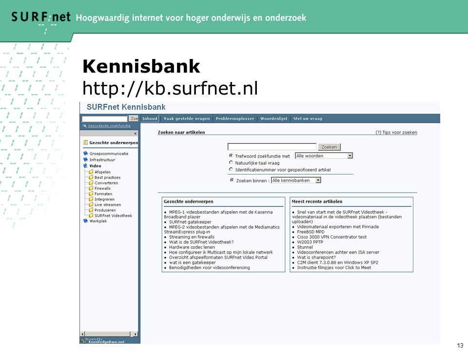 Kennisbank http://kb.surfnet.nl