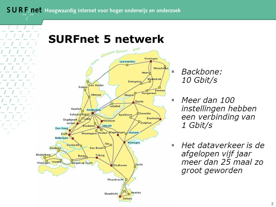 SURFnet 5 netwerk Backbone: 10 Gbit/s