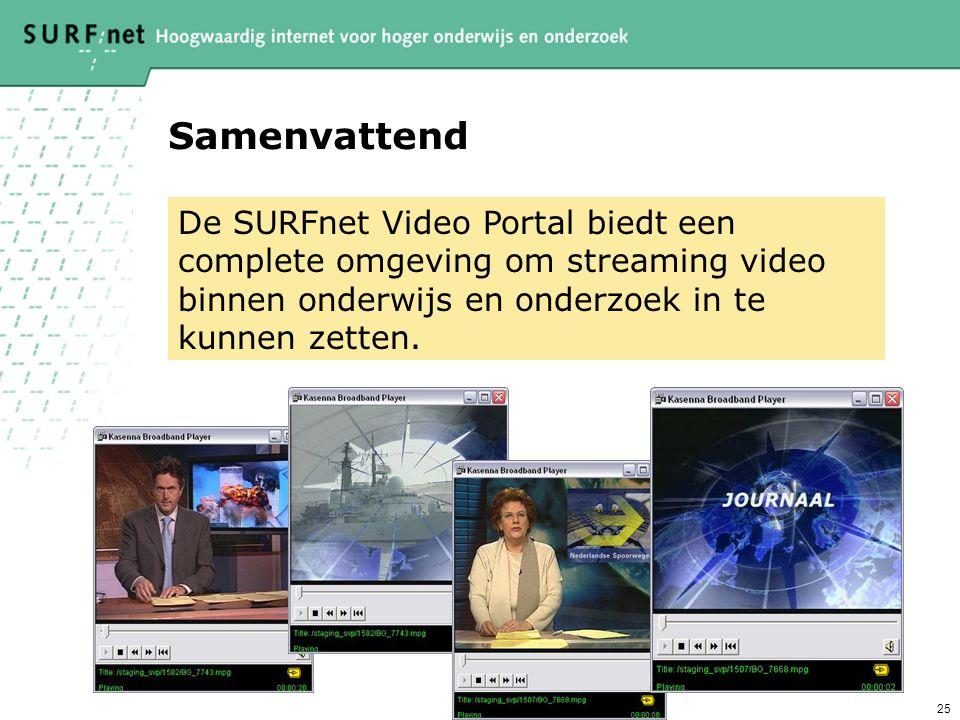 Samenvattend De SURFnet Video Portal biedt een complete omgeving om streaming video binnen onderwijs en onderzoek in te kunnen zetten.