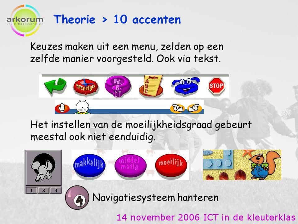 Theorie > 10 accenten Keuzes maken uit een menu, zelden op een zelfde manier voorgesteld. Ook via tekst.