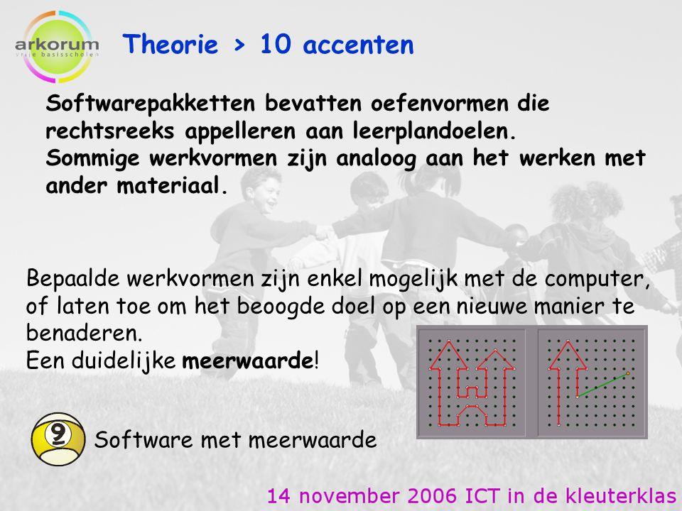 Theorie > 10 accenten Softwarepakketten bevatten oefenvormen die rechtsreeks appelleren aan leerplandoelen.