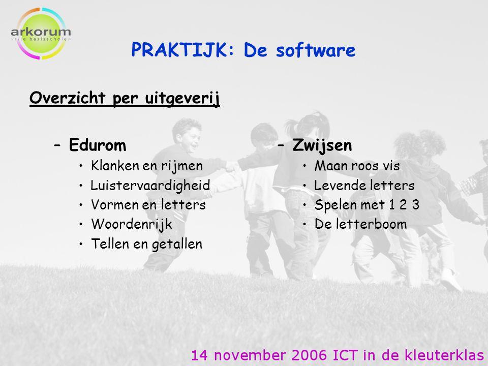 PRAKTIJK: De software Overzicht per uitgeverij Edurom Zwijsen