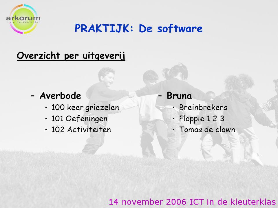 PRAKTIJK: De software Overzicht per uitgeverij Averbode Bruna