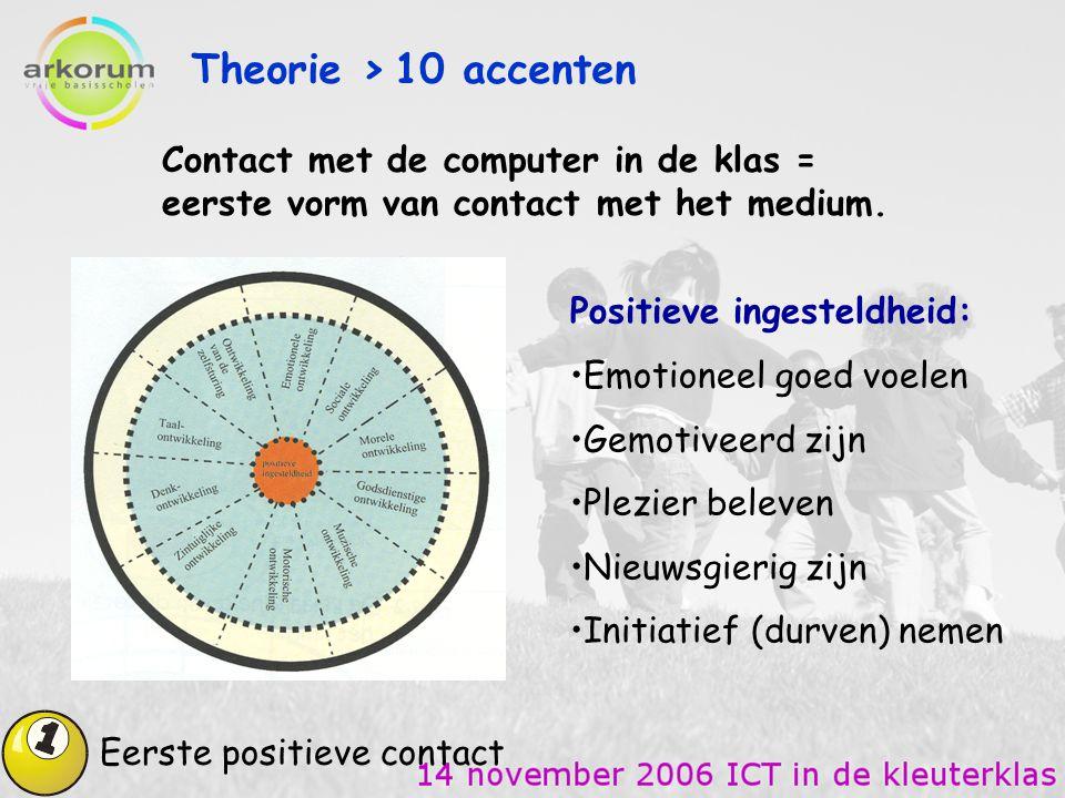 Theorie > 10 accenten Contact met de computer in de klas = eerste vorm van contact met het medium.