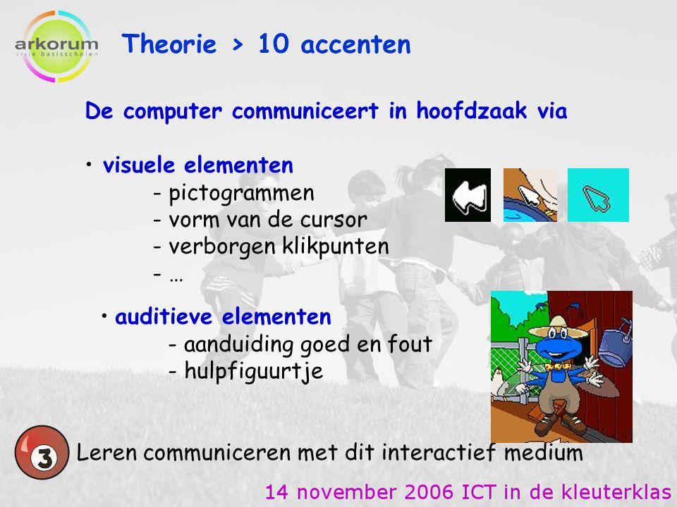 Theorie > 10 accenten De computer communiceert in hoofdzaak via