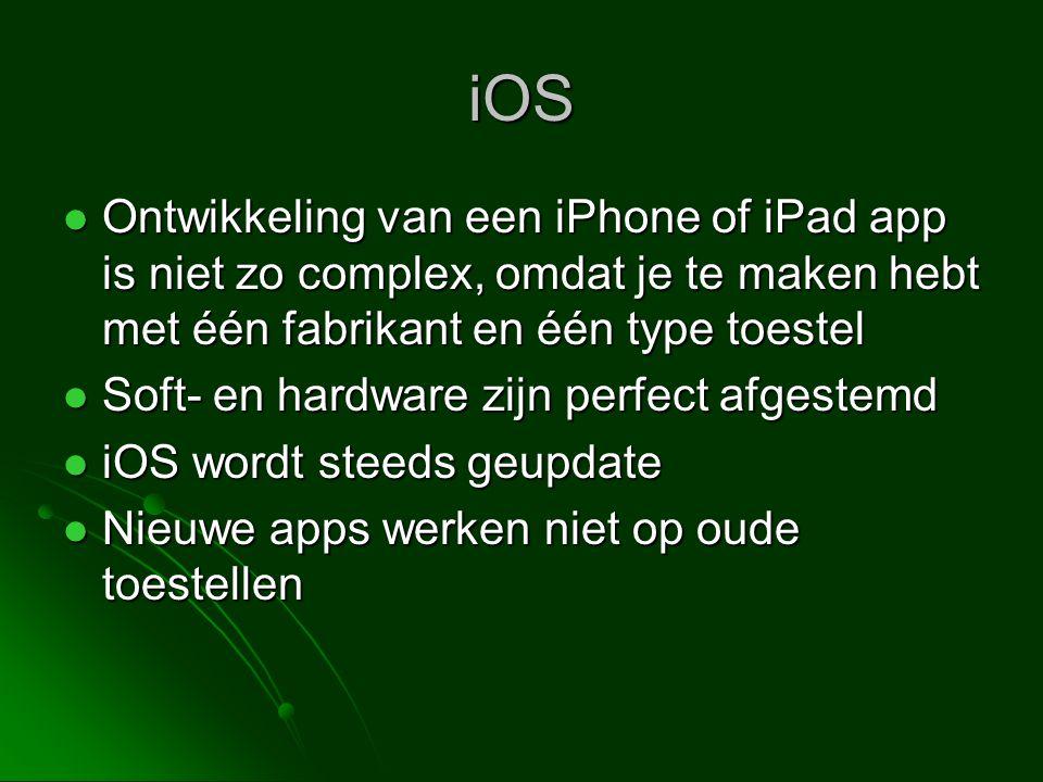 iOS Ontwikkeling van een iPhone of iPad app is niet zo complex, omdat je te maken hebt met één fabrikant en één type toestel.