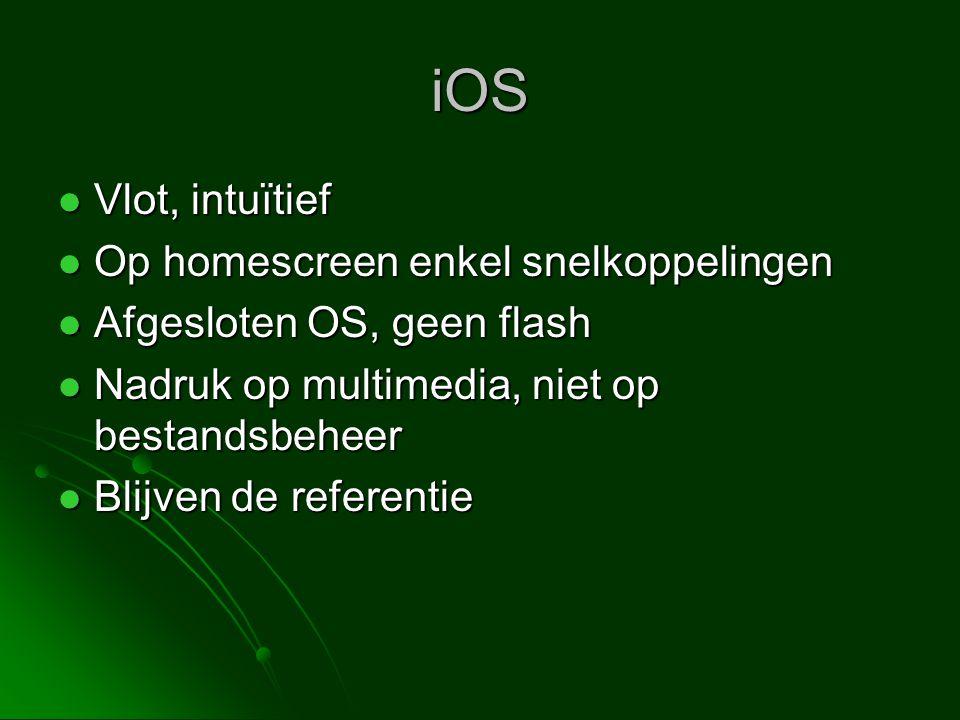 iOS Vlot, intuïtief Op homescreen enkel snelkoppelingen