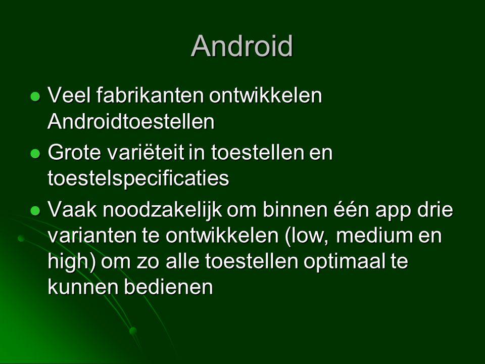 Android Veel fabrikanten ontwikkelen Androidtoestellen