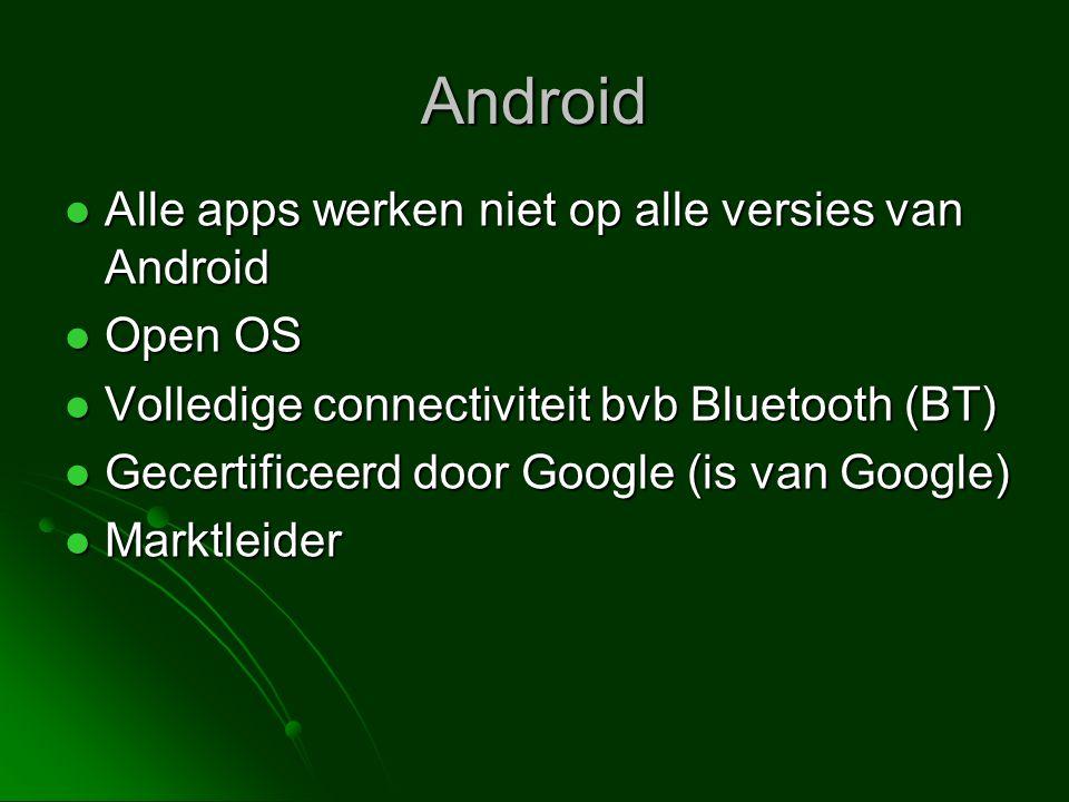 Android Alle apps werken niet op alle versies van Android Open OS